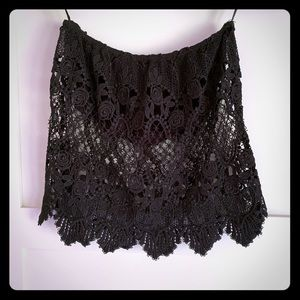 Strapless Crop Lace Top - XS